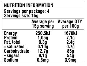 Nutritional information list for freeze dried strawberries