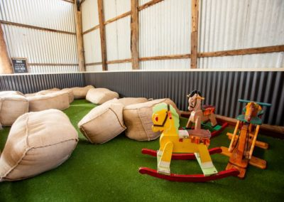 kids play area in hay barn